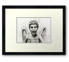 Weeping Angel Watercolor - Doctor Who Fan Art Framed Print