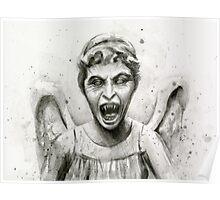Weeping Angel Watercolor - Doctor Who Fan Art Poster