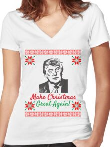 Make Christmas Great Again Ugly Sweater Donald Trump Women's Fitted V-Neck T-Shirt