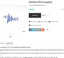 A Screenshot of GoAutograph's Matthew McConaughey Autograph by krambra