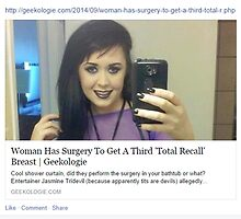 A Screenshot of A Facebook Post My Friend Shared About A Girl that Got Surgery to Have A Third Boob Like the Prostitute in Total Recall by krambra