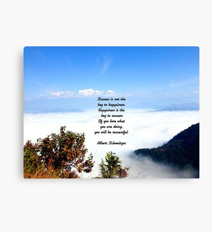 Happiness Is The Key To Success Uplifting Inspirational Quote With Blue Sky Filled With Floating Clouds Canvas Print