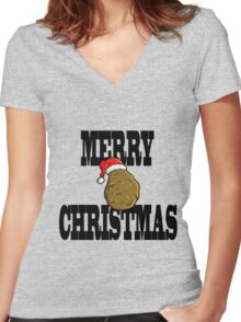 merry potato  Women's Fitted V-Neck T-Shirt