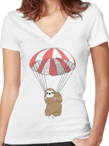Parachuting Sloth Women's Fitted V-Neck T-Shirt