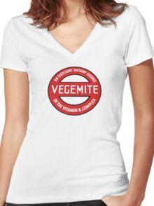 Vintage Vegemite Women's Fitted V-Neck T-Shirt