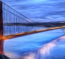 Golden Gate Bridge Oil Painting Sticker