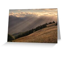 Rays of sunlight over Hurricane Hill, Olympic National Park Greeting Card