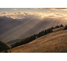 Rays of sunlight over Hurricane Hill, Olympic National Park Photographic Print