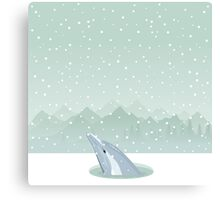 Dolphin in an ice-hole Canvas Print