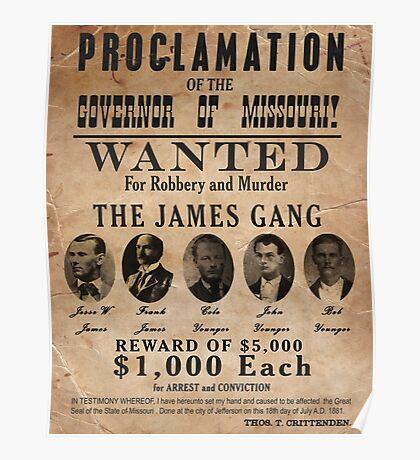 James Gang Wanted Poster Poster