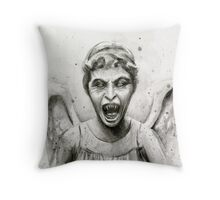 Weeping Angel Watercolor - Doctor Who Fan Art Throw Pillow