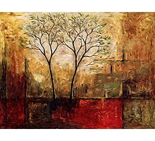 Twin Trees Abstract Oil Painting Photographic Print