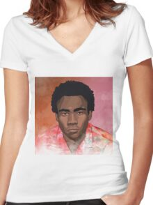 Childish Gambino Because the Internet T-Shirt Women's Fitted V-Neck T-Shirt