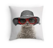 Elegant cat wearing floppy hat and sunglasses Throw Pillow