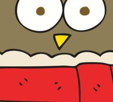 cartoon owl wearing scarf Sticker