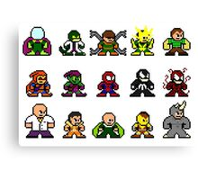 8-bit Spider-Man & Foes Canvas Print