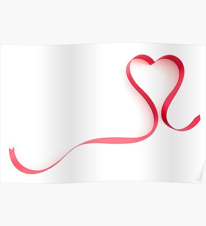 Red Ribbon Heart Shape Poster