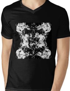 Electrifying black and white sparkly triangle flames Mens V-Neck T-Shirt