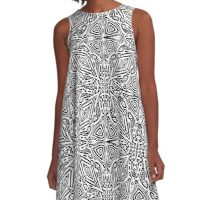 Black and White Vector A-Line Dress
