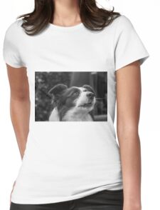 expression of a border collie and howls Womens Fitted T-Shirt