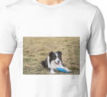 border collie dog in the grass attentive and ready to spring to Unisex T-Shirt