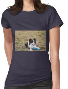 border collie dog in the grass attentive and ready to spring to Womens Fitted T-Shirt