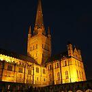 Norwich Cathedral at Night by wiggyofipswich