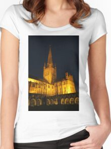 Norwich Cathedral at Night Women's Fitted Scoop T-Shirt