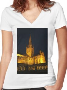 Norwich Cathedral at Night Women's Fitted V-Neck T-Shirt
