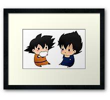 Chibi goku and vegeta Framed Print