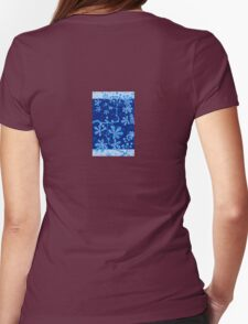 Azure Frost Flower Womens Fitted T-Shirt