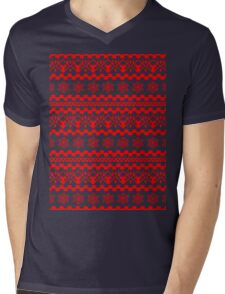 PATTERN SNOWFLAKES (red) Mens V-Neck T-Shirt