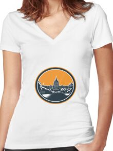 United States Capitol Building Woodcut Retro Women's Fitted V-Neck T-Shirt