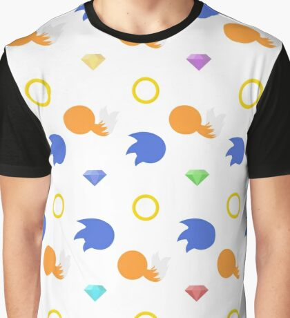 Sonic and Tails chaos emeralds (white) Graphic T-Shirt