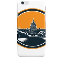 United States Capitol Building Woodcut Retro iPhone Case/Skin