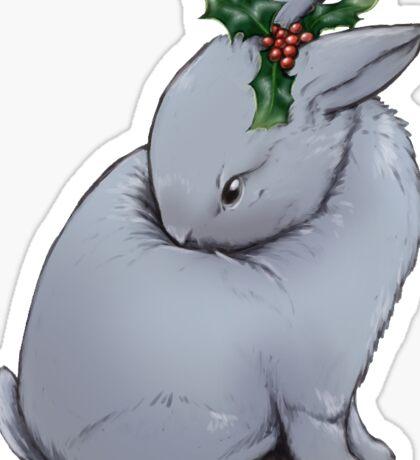 Holiday Holly Bunny Sticker
