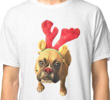 Santa's Reindeer Boxer Dog Cute Christmas Pup Classic T-Shirt