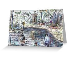 Young Boy at the Duck Pond Greeting Card