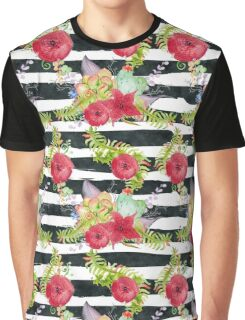 Watercolor pattern red flowers on black striped pattern Graphic T-Shirt