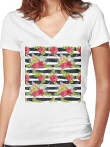 Watercolor pattern red flowers on black striped pattern Women's Fitted V-Neck T-Shirt
