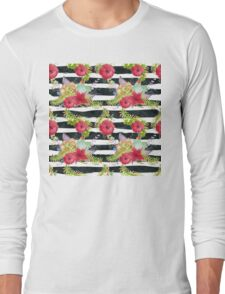 Watercolor pattern red flowers on black striped pattern Long Sleeve T-Shirt