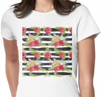Watercolor pattern red flowers on black striped pattern Womens Fitted T-Shirt