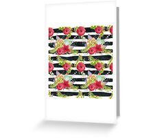 Watercolor pattern red flowers on black striped pattern Greeting Card