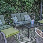 A Place To Relax and Chat in the Backyard Garden by Jane Neill-Hancock