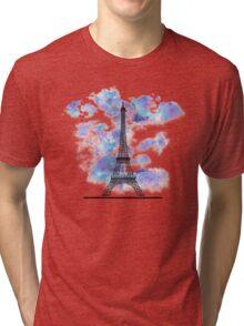 Paris Eiffel Tower Skyline Watercolor Sky Tri-blend T-Shirt