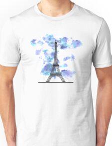 Paris Eiffel Tower Skyline Watercolor Sky Unisex T-Shirt