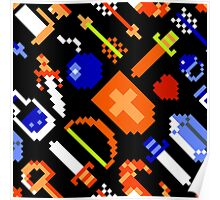 Legend of Zelda NES / items / pattern / black Poster