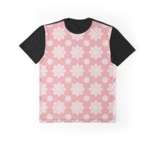 White, snowflakes, pink, background, seamless, pattern Graphic T-Shirt