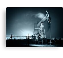 Oil Rig at night. Canvas Print