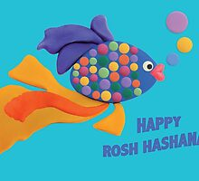 Happy Rosh Hashanah Greeting Card by curlyorli